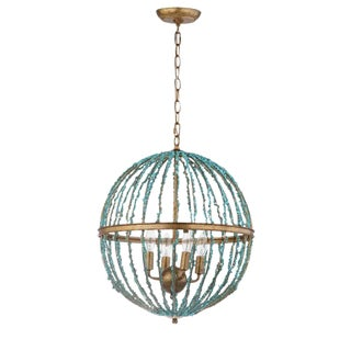 Turquoise Stone 4 Light Chandelier