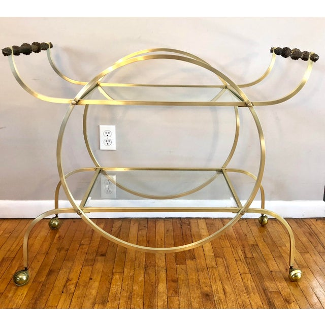Hollywood Regency Style Brass Bar Cart With Beveled Glass Shelves For Sale - Image 11 of 11