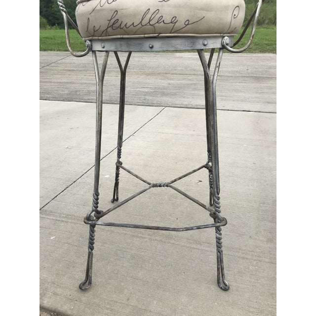 1920s 1920's Vintage Twisted Iron Ice Cream Parlor Stools - A Pair For Sale - Image 5 of 8