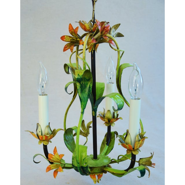 Vintage Italian Three Arm/Light Lily Flower Tole Chandelier - Image 7 of 11