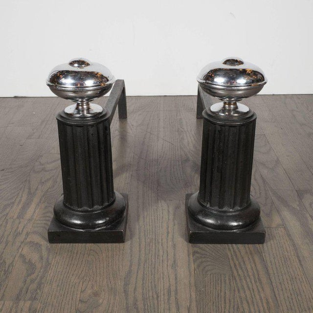 1930s American Art Deco Streamlined Fireplace Set in Chrome and Black Enamel For Sale - Image 5 of 11