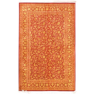 "Pasargad Home Qum Collection Silk Area Rug-4' 3"" X 6' 8"" For Sale"