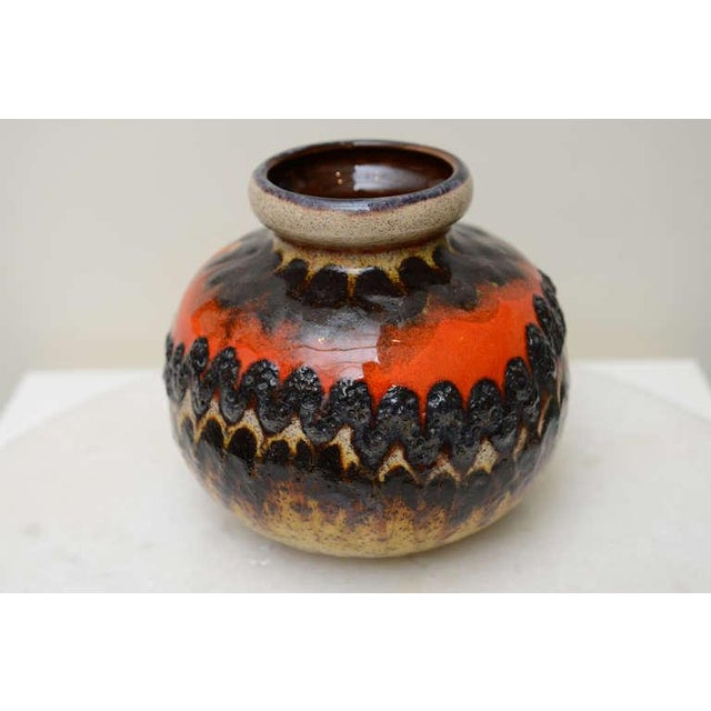 Orange Two Ceramic German Textural Vases/Vessels/Objects For Sale - Image 8 of 10