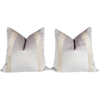 Velvet Lavender Greek Key Pillows, a Pair For Sale
