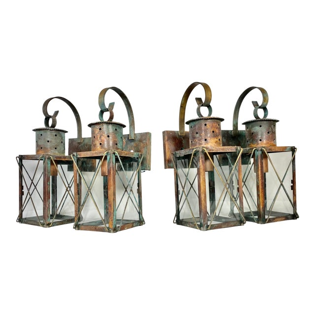 Solid Copper Custom-Made Outdoor Wall Lanterns by Genie House, Set of 4 For Sale