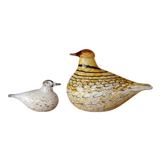 Iittala Oiva Toikka Glass Birds - a Pair For Sale