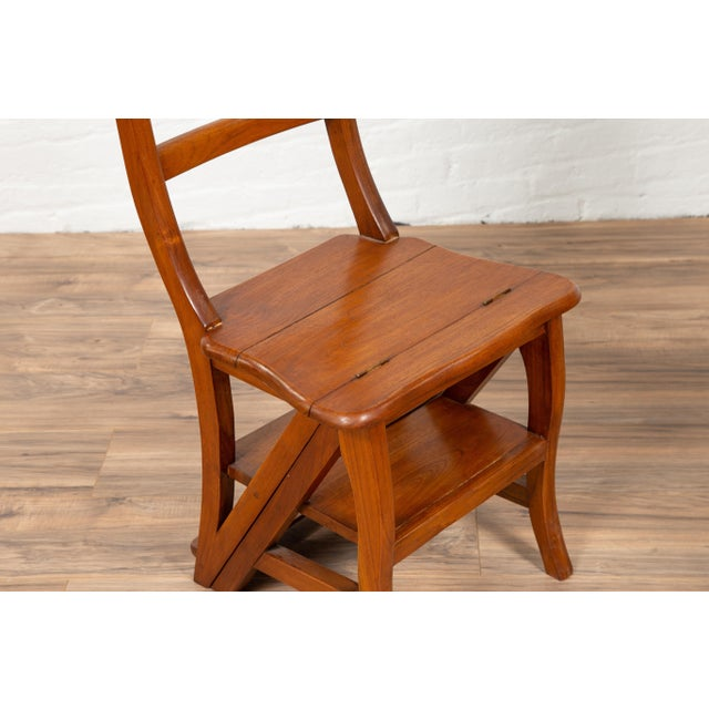 Mid 20th Century Vintage Dutch Colonial Metamorphic Teak Step Ladder Folding Side Chair For Sale - Image 5 of 13