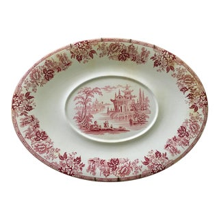 Bruwane Classic Red Chinoiserie Transferware Serving Platter For Sale
