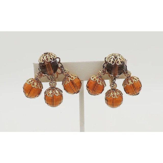 Napier 1950s Napier Brown Faceted Bead Earrings For Sale - Image 4 of 7