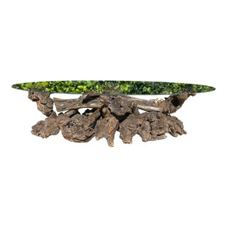 Oval Glass Top Driftwood/Burl Coffee Table For Sale