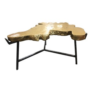 Industrial Century Furniture Gold and Steel Cocktail Table For Sale