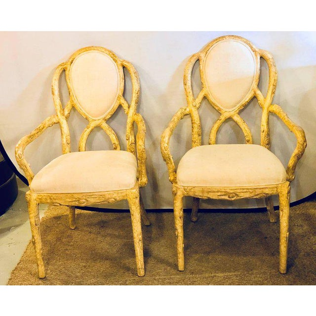 Hollywood Regency Style Tree Trunk Form Designed Arm Desk Chairs A Pair For