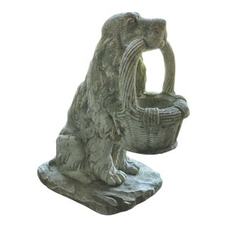 Vintage Nina Studios Cement Garden Planter French Dog With Flower Basket For Sale