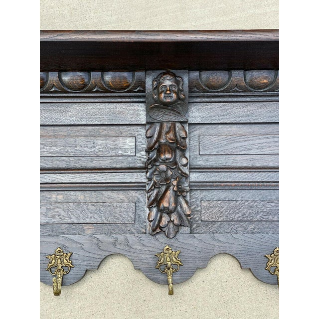 Antique French Wall Shelf Cherub Plate Rack Hat/Coat Rack For Sale - Image 4 of 12