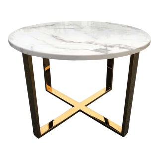 Mid Century Round Marble and Brass Table For Sale