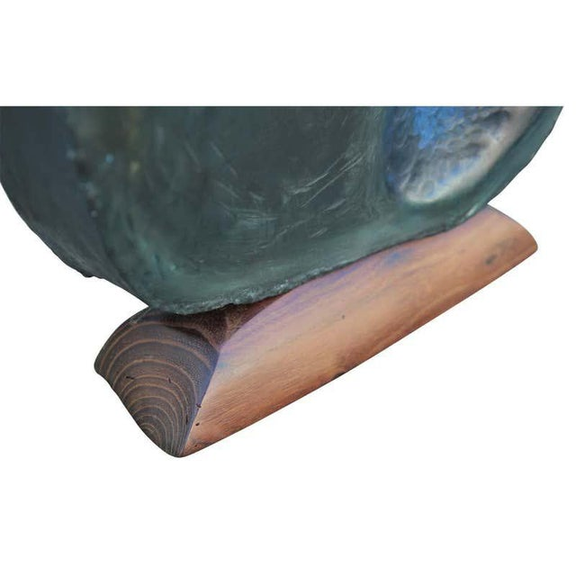 1990s Modern Abstract Organic Metal and Wood Sculpture Signed Schmidt For Sale - Image 10 of 11