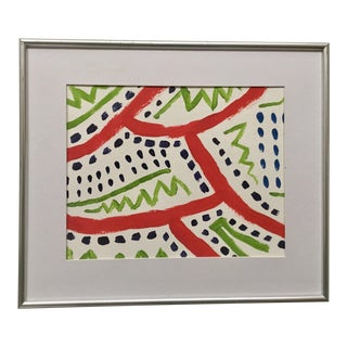 Abstract Original Acrylic Painting in Silver Frame For Sale