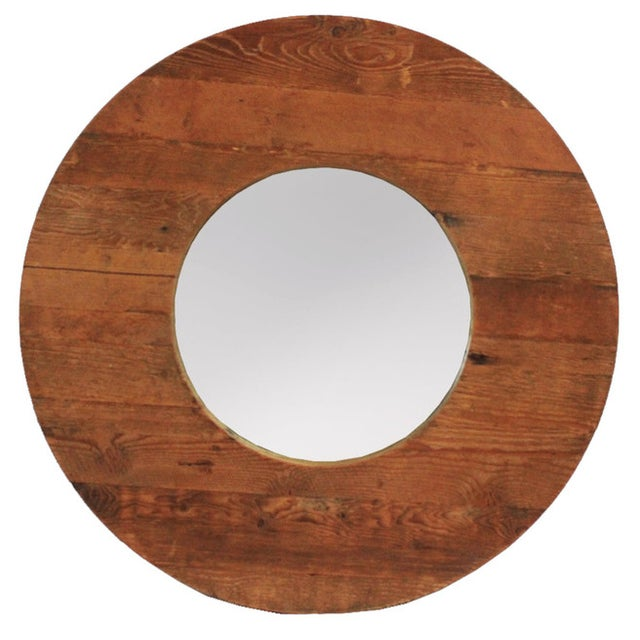 Round Wood Mirror - Image 1 of 2