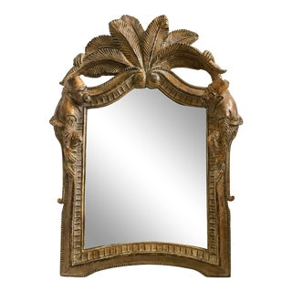 Vintage Chinoiserie Carved Monkey and Palm Tree Mirror For Sale