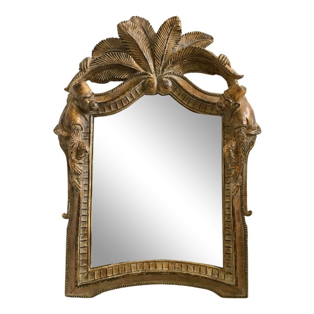 Vintage Chinoiserie Carved Monkey And Palm Tree Mirror