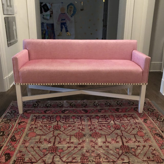 Love this happy upholstery Oomph bench in pink fabric with nailhead tape trim. 28'' H x 52'' W x 22'' D Seat Height -...