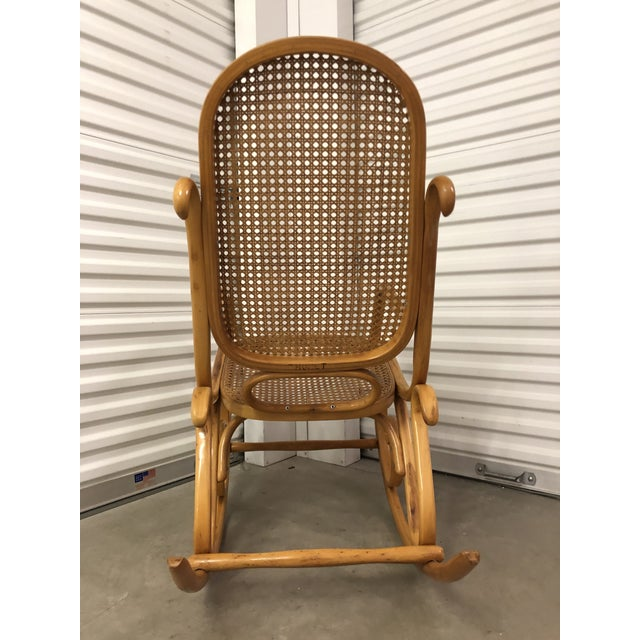 19th Century Thonet Bentwood & Cane Wood Rocker Rocking Chair For Sale - Image 10 of 13