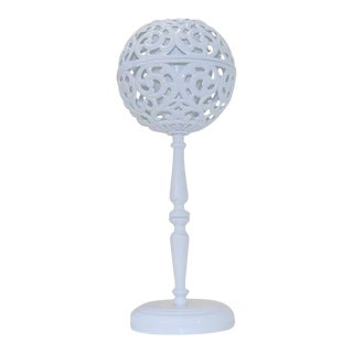Gloss White Geometric Table Lamp For Sale