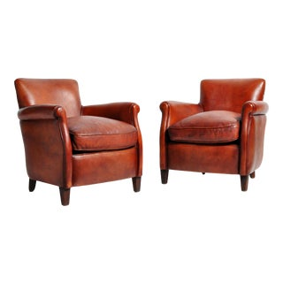 French Leather Armchairs - a Pair For Sale