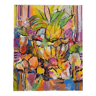 1960s Marilyn Hoeck Neal Vibrant Colorful Abstract Floral Oil Painting
