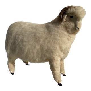 Vintage Sheep Sculpture Footrest/Sculpture For Sale