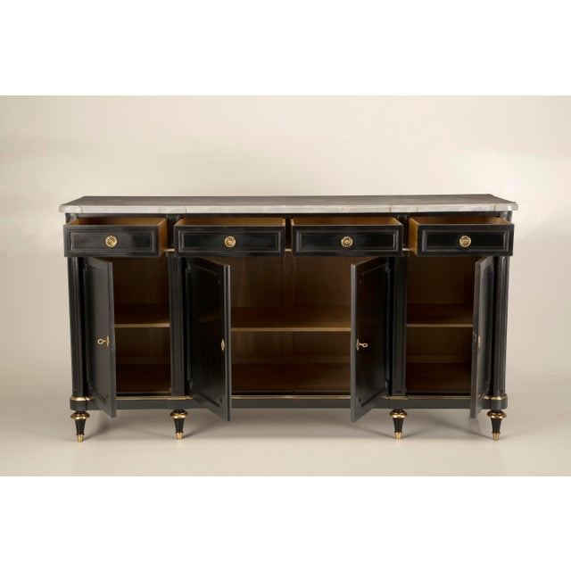1930s Vintage French Louis XVI Style Buffet in an Ebonized Mahogany For Sale - Image 5 of 12