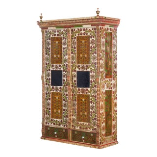 European BohemiAntique Folk Art Floral Painted Armoire Wardrobe Cabinet For Sale