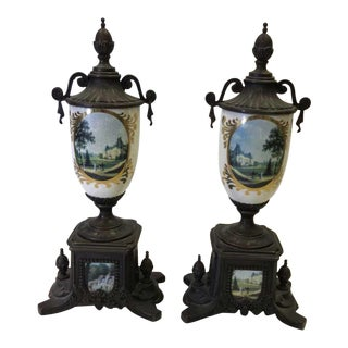 Antique Italian Hand Painted Urns For Sale
