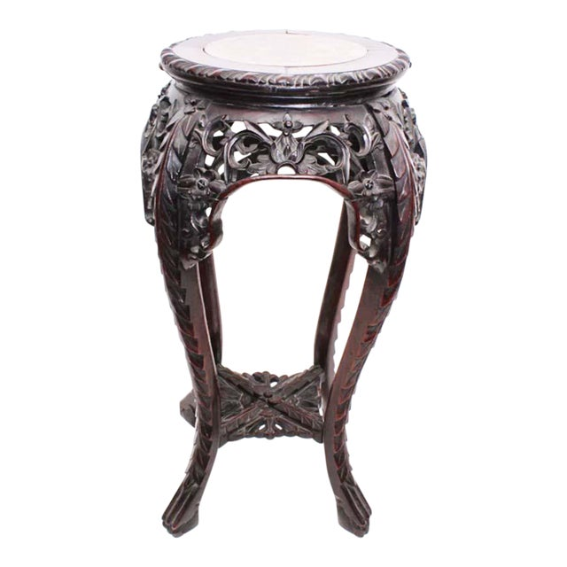 Antique Chinese Carved Rosewood Marble Top Stand For Sale