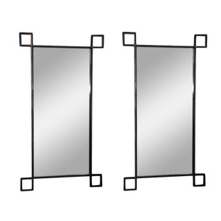 Pair of Oversized 'Oxyde' French Industrial Mirrors by Design Frères For Sale