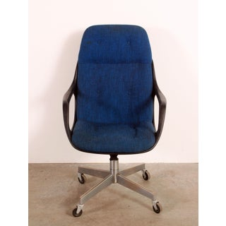 Vintage Mid Century Modern Blue High Back Executive Desk Chair Preview