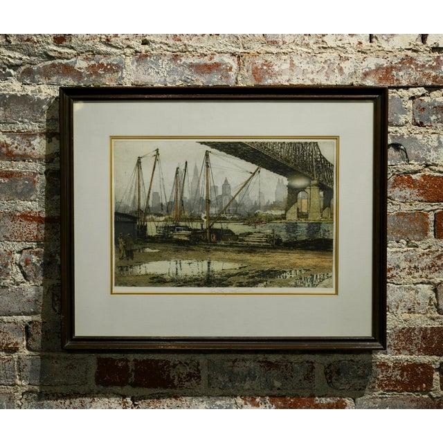 Luigi Kasimir -Queensborough Bridge New York-Original Color Etching C.1936 For Sale - Image 10 of 10