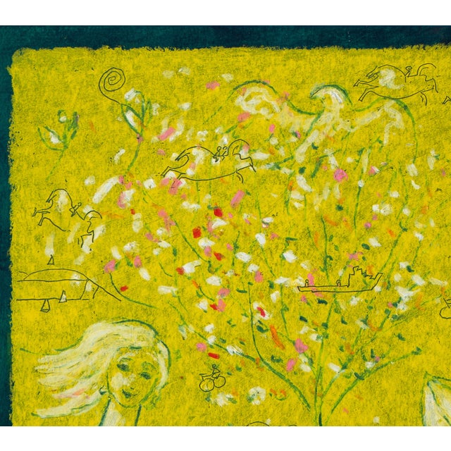 "Delicately painted garden landscape with elegant and whimsical figures. Signed lower right ""Noel Skidmore"" for Noel..."