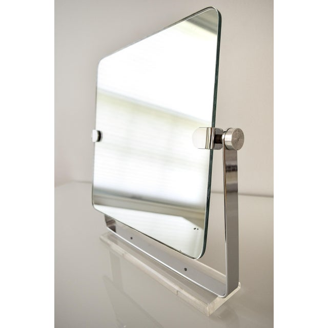 Mid Century Chrome and Lucite Adjustable Tabletop Mirror For Sale In Detroit - Image 6 of 10