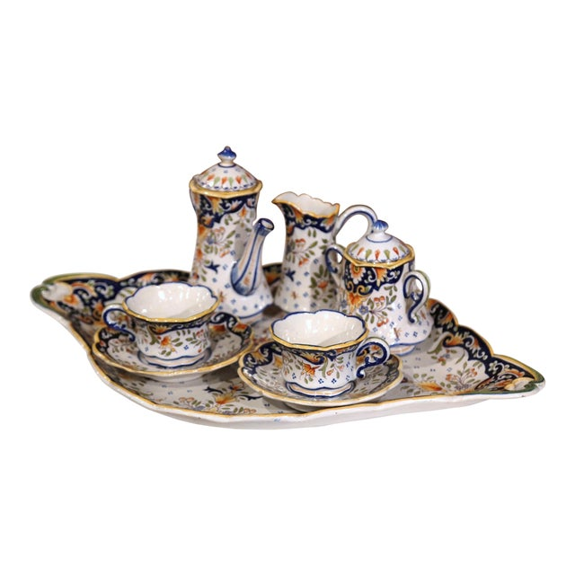 Early 20th Century French Hand-Painted Faience Coffee Set From Blois - 10 Pc. Set For Sale