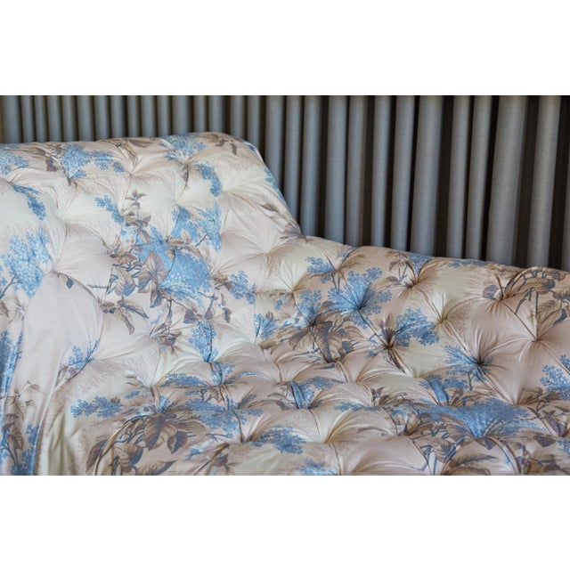 Featured in The 2020 San Francisco Decorator Showcase — Bespoke Martin Young Design Multicolor and White Ivory Tufted & Draped Jasper Fabric Chaise For Sale In San Francisco - Image 6 of 9