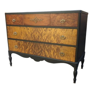 1900's Traditional Berkey & Gay Low Boy Flame Maple Lowboy Dresser For Sale