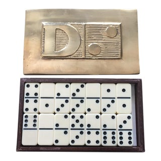 Brass & Walnut Dominoes Box with Dominoes