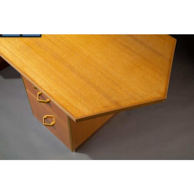 Custom Designed Frank Lloyd Wright Double Pedestal Desk for the Price Tower For Sale In Dallas - Image 6 of 7
