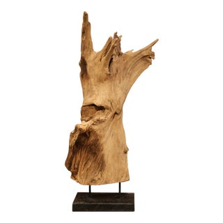 Large Antique Driftwood Sculpture on Green Marble Base For Sale