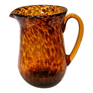 Vintage Smith Hand Blown Amber Tortoise Art Glass Pitcher For Sale