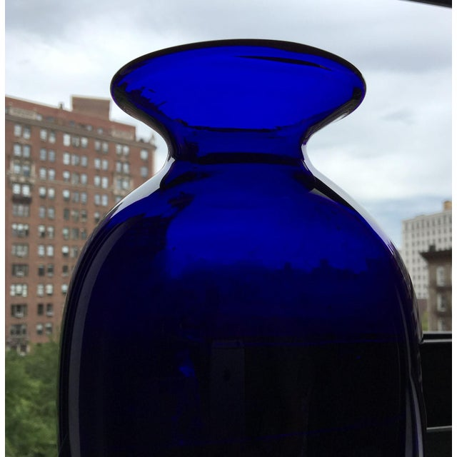Moving Sale - Tall Cobalt Blue Handblown Art Glass Vase For Sale In New York - Image 6 of 6