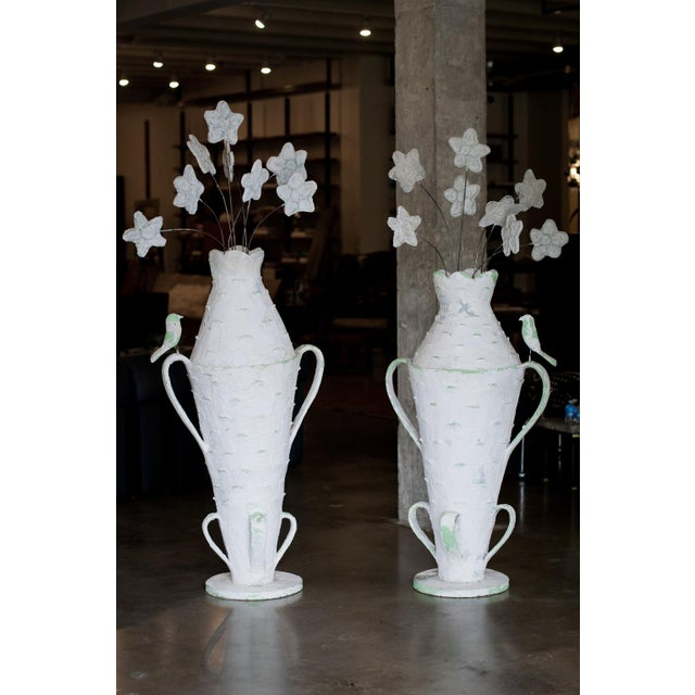 Beauty and whimsy expressed in this rare and highly collectable pair of urns by Cantral Valdez, mid-century masonry...
