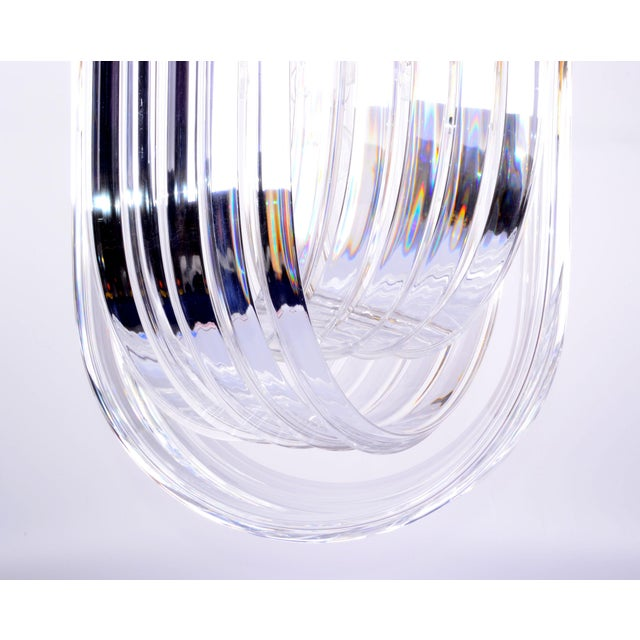 Lucite Ribbon Chandelier with Canopy - Image 6 of 10