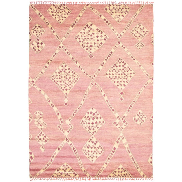 """Textile Moroccan Pink Wool Rug-9'x12'7"""" For Sale - Image 7 of 7"""